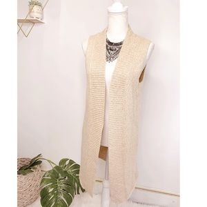 THEORY Open Front Cashmere Duster Vest Small Tan
